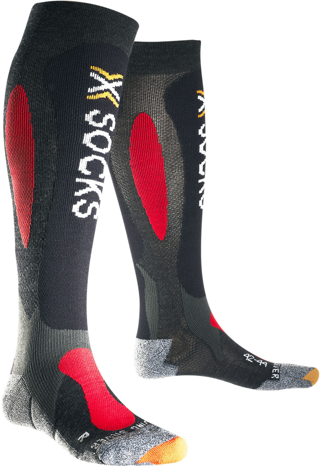 X bionic ski carving silver socks anthracite red campz